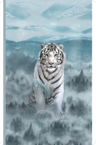 Hoffman Siberian Tiger Digital Cuddle® Panel Ice Blue