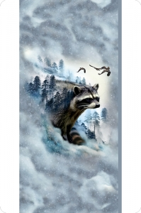 Hoffman Raccoon Digital Cuddle®Panel Blue