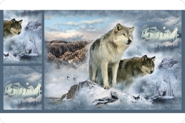 Hoffman Wolves Digital Cuddle®Panel Ice