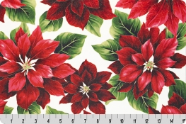 Hoffman Holiday Red Poinsettia Digital Cuddle® Natural/Gold
