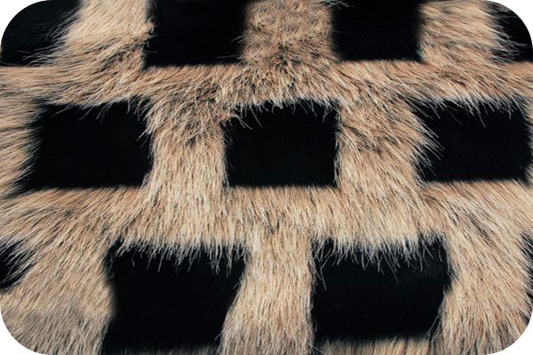 Checker Faux Fur Black/Gray